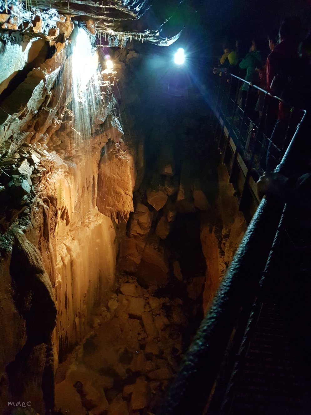 falls in the cave