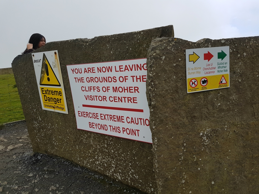unstable cliff warning